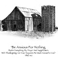 Pencil Drawing Of Old Barn With Bible Verse by Joyce Geleynse