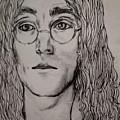 Pencil Portrait Of John Lennon  by Joan-Violet Stretch