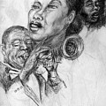pencil study for Satchmo Lady Day and Nina Simone by Patrick Mills