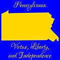 Pennsylvania Map In State Colors Blue And Gold With State Motto Virtue Liberty And Independence by Rose Santuci-Sofranko