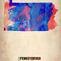 Pennsylvania Watercolor Map by Naxart Studio