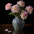Peonies In A Blue Vase Faux Oil by Endre Balogh