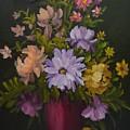 Peonies In A Red Vase by Sally Jones