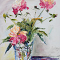 Peonies In Crystal Vase by Frank Hoeffler