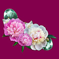 Peonies In Pink And Blue by Joy of Life Art Gallery