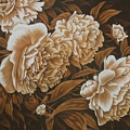 Peonies In Sepia by Karen Coombes