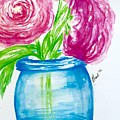 Peonies Mason Jar by Gail Nandlal