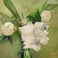 Peonies On Green by Marie Garafano