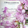 Peonies On Music Sheet - Pink Peonies Shabby Chic Inspirational Print - Peony Home Decor by Kathy Fornal