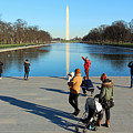 People At The Reflecting Pool by Cora Wandel