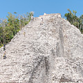 People Climbing Nohoch Mul At The Coba Ruins by Carol Ailles