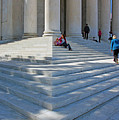 People On Steps With Columns by Cora Wandel