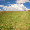 People On The Hill Painterly by Joan Carroll