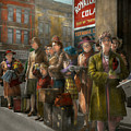 People - People Waiting For The Bus - 1943 by Mike Savad