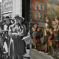 People - People Waiting For The Bus - 1943 - Side By Side by Mike Savad