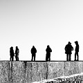 People Standing In Groups Abstract Monchrome by John Williams