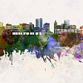 Peoria Skyline In Watercolor Background by Pablo Romero