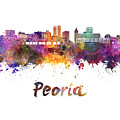 Peoria Skyline In Watercolor by Pablo Romero