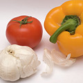 Pepper, Tomato And Garlic by Ofer Zilberstein