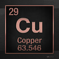 Periodic Table Of Elements - Copper - Cu - Copper On Black by Serge Averbukh