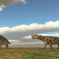 Permian Inostrancevia Hunts Keratocephalus by Corey Ford