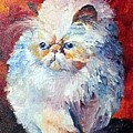 Persian Fluffy Cat by Christy  Freeman