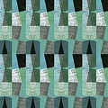 Perspective Compilation With Wood Grain And Teal by Michelle Calkins
