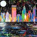 Perth Skyline Alla Pollock  by Roberto Gagliardi