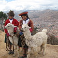 Peruvian Girls With Llamas by Sandra Bourret