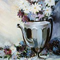Pewter Coffee Pot And Daisies by JoAnne Corpany