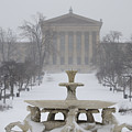 Philadelphia Art Museum From The West In Winter by Bill Cannon