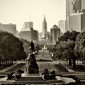 Philadelphia Benjamin Franklin Parkway In Sepia by Bill Cannon