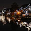 Philadelphia Boathouse Row At Night by Gary Whitton