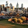 Philadelphia Cityscape From Penn Park In University City by Bill Cannon