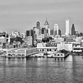 Philadelphia From The Waterfront In Black And White by Bill Cannon