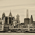 Philadelphia From The Waterfront In Sepia by Bill Cannon
