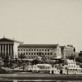 Philadelphia Museum Of Art And The Fairmount Waterworks From West River Drive In Black And White by Bill Cannon