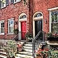 Philadelphia Pa - Townhouse With Red Geraniums by Susan Savad