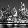 Philadelphia Philly Skyline At Night From East Black And White Bw by Jon Holiday
