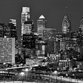 Philadelphia Skyline At Night Black And White Bw  by Jon Holiday