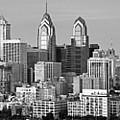 Philadelphia Skyline Black And White Bw Wide Pano by Jon Holiday