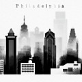 Philadelphia Skyline Graphic Work by Dim Dom