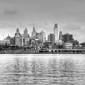 Philadelphia Skyline In Black And White by Jennifer Ancker