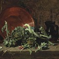 Philippe Rousseau Still Life With Artichokes, 1868 by Artistic Rifki