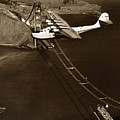 Philippine Clipper A Pan Am Clipper Over The Golden Gate Bridge  1935 by California Views Archives Mr Pat Hathaway Archives
