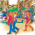 Philippine Girls Crossing Street by Rolf Bertram