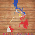 Philippines Rustic Map On Wood by Dan Sproul