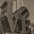 Philly Esque  - Love Statue In Sepia by Bill Cannon