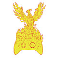 Phoenix Rising Fiery Flames Over Game Controller Drawing by Aloysius Patrimonio
