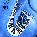 Piano Keys In A Saxophone Blue - Music In Motion by Wayne Cantrell